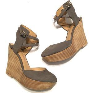 Elaine Turner NEW Nubuck Ankle Strap Wedge Heels